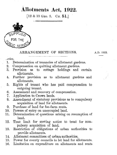National Allotment Act 1922