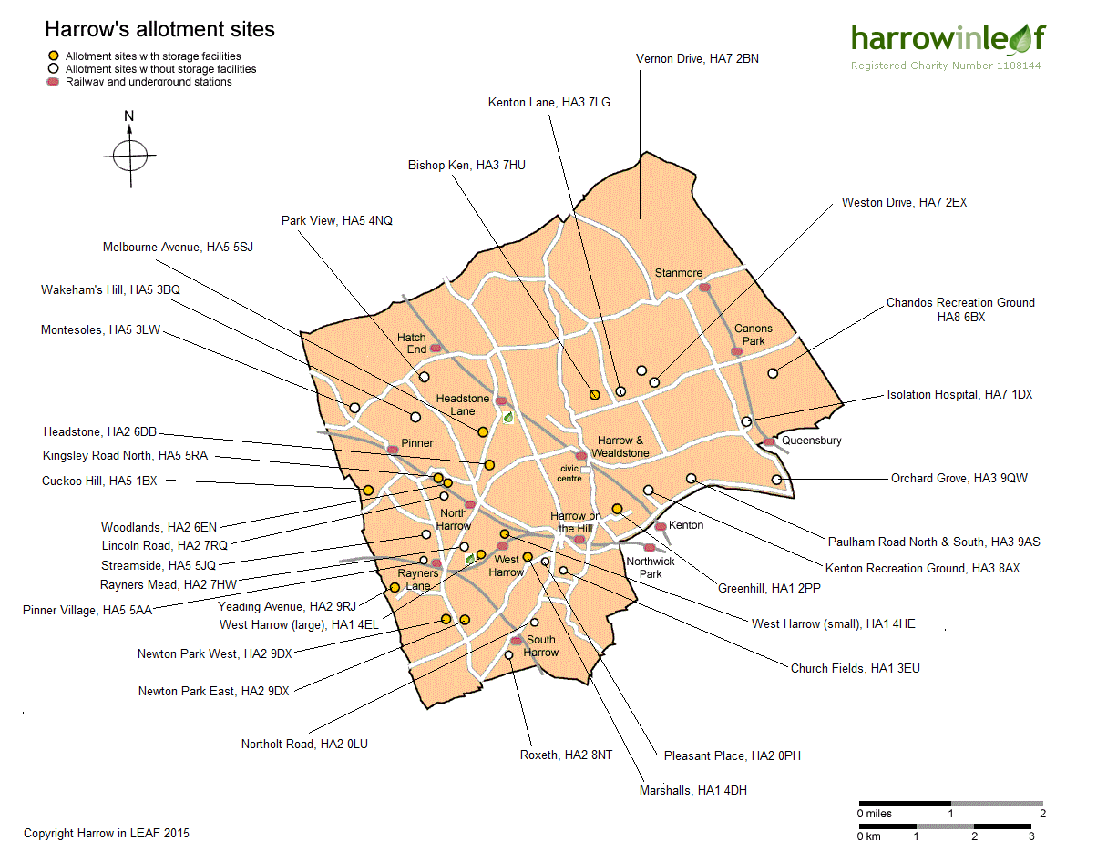Map of Harrow's allotment sites