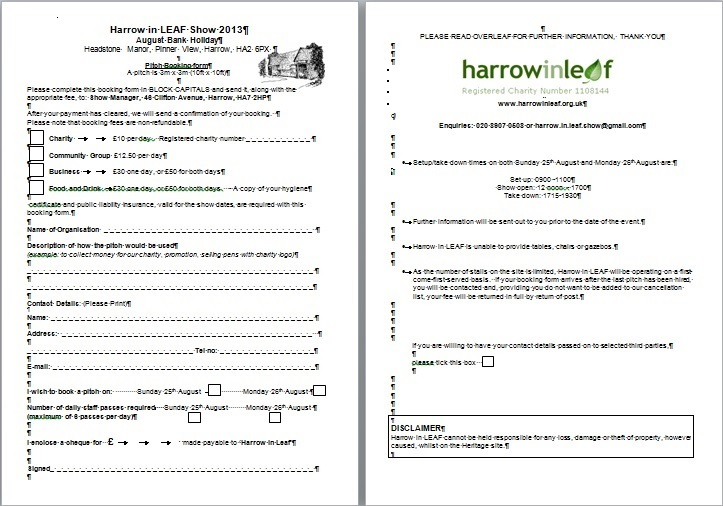 Exhibition Stall Booking Form : Harrow in leaf annual show